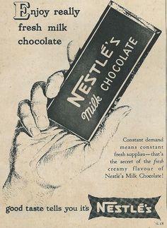 advert for Nestles Chocolate 1950s Ads, Nestle Chocolate, Fresh Milk