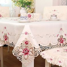 Hoomy Embroidered Floral Tablecloths Off White Cutwork Ta…