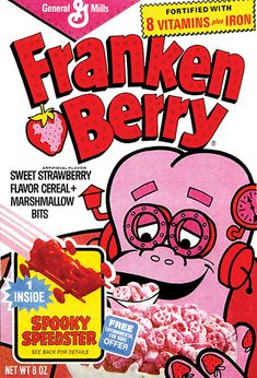 Am I the only one who remembers the smurf cereal from the im really craving some right now and I dont know why :(.Anyway what discontinued food would you like to see back in stores. I also loved the rainbow bright cereal too.Yeah im a huge cereal eater Retro Recipes, Vintage Recipes, Frankenberry Cereal, General Mills Cereal, Marshmallow Cereal, Flavored Marshmallows, Cereal Killer, E 7, Breakfast Cereal