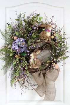 Easter Door Wreath, Primitive Country Wreath, Easter Wreaths, Easter Bunnies, Easter Pip Berries, Easter Decor -- FREE SHIPPING. $173.00, via Etsy.