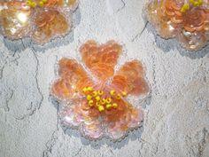 ORANGE HIBISCUS FLOWER Sequined Applique    Six by KeepsakesStudio