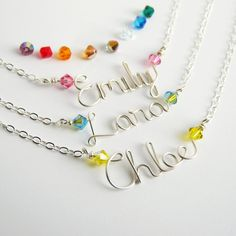 Custom Childrens Silver Name Necklace with Swarovski Crystals Sterling Silver 15 inches