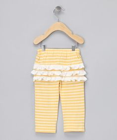 Take a look at this Yellow Organic Ruffle Bum Pants - Infant, Toddler & Girls by violet + moss on #zulily today!