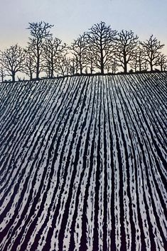 Ploughed Field: fields in winter, frosty field, plough marks, English landscape, bare trees Ploughed Winter Landscape, Landscape Art, Landscape Paintings, Linocut Prints, Art Prints, Block Prints, Gravure Photo, Lino Art, Gravure Illustration