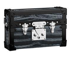 Petite Malle Louis Vuitton en cuir et crocodile noir