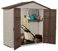 suncast storage building 7 x store in style those lawn mowers wheel barrows wheeled fertilizer spreaders and more with this durable and attractive