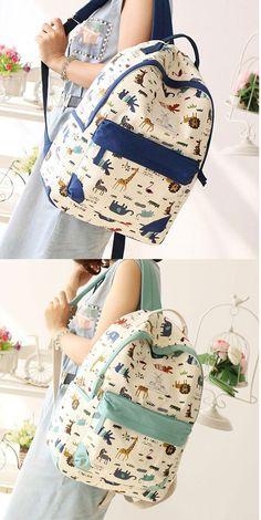 So cute backpack ! Giraffe Zebra Kangaroo Backpack Zoo Computer Bag Schoolbag #backpack #cute #school #bag