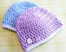 I love making simple beanies. Besides the fact that they are SO fast, they are great for charity projects. There are tons of great ways to give back using newborn beanie hats. Hospitals use them in their OB wards (I still have the homemade beanies my sons wore home from the hospital!). Or how about