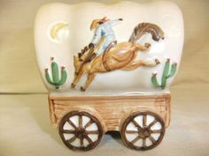 VINTAGE OTAGIRI JAPAN WESTERN WAGON PIGGY COIN BANK PORCELAIN COWBOY MINT