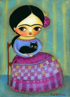 FRIDA kahlo black cat PRINT of mexican folk art painting por tascha
