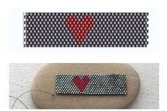Peyote Beaded Heart Ring Pattern