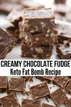 Easy Chocolate Keto Fudge I am so in love with this Creamy Chocolate Keto Fudge! I just love a good recipe that includes chocolate, peanut butter, and crunchy walnuts. This brings everything together to make the most decadent chocolate fat bombs. Dessert Simple, Keto Dessert Easy, Low Carb Desserts, Easy Desserts, Dessert Recipes, Dinner Recipes, Sweets Recipe, Keto Cookies, Chip Cookies