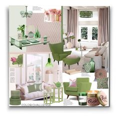 """Green and Blush"" by marionmeyer on Polyvore featuring interior, interiors, interior design, Zuhause, home decor, interior decorating, Pacini & Cappellini, Bungalow 5, Quoizel und Taylor Burke Home"