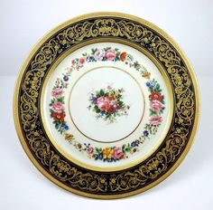 12 Elegant Antique Ahrenfeldt Limoges Cobalt Service Plates (item #1315572, detailed views)