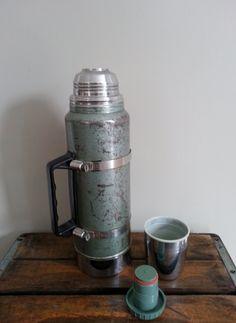 Vintage Aladdin Stanley Thermos  Metal Thermos by thejadedorris