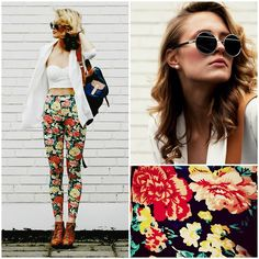 flower leggings, sunglasses, bandeau, backpack, cardigan