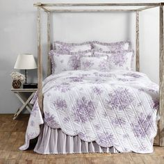 Josephine Orchid Romantic Cottage Chic Purple & White Rose Bouquet Quilt Twin #VictorianHeart #Cottage