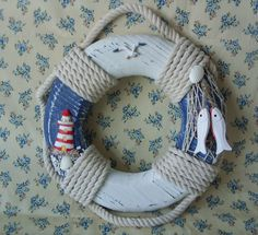 Shabby Rustic Chic Blue White Nautical Wooden Life Ring Lighthouse Fish Shells | eBay