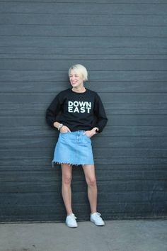 Items similar to Down East Love Sweatshirt on Etsy Summer Nights, Ottawa, East Coast, Mittens, Hipster, Comfy, Running, Sweatshirts, How To Wear