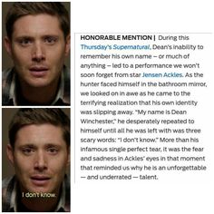 Supernatural Addiction Hotline : Jensen Ackles being an awesome Dean Winchester♡ Dean needs all the love he can get♡ Jensen Ackles, Dean Winchester, Winchester Brothers, Jared Padalecki, Misha Collins, Destiel, Supernatural Actors, Supernatural Quotes, Sherlock Quotes
