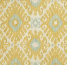 Would make beautiful drapes! Yellow Aqua Ikat Fabric Upholstery Fabric by by greenapplefabrics, $43.00