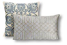 S/2 Cara Cotton Pillows, Gray on OneKingsLane.com
