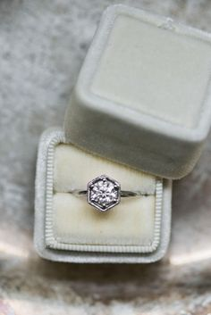 Engagement ring, hexagonal setting, solitaire diamond, platinum // Lissa Ryan Photography