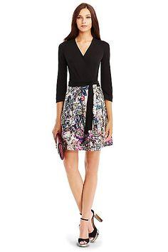 DVF Jewel Silk Combo Dress in Black/ Fleur Jungle Pink
