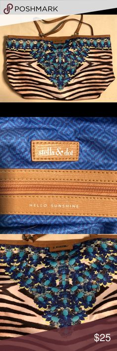 Stella and Dot Zebra and Jewels Toe Super fun Stella and Dot Zebra and Jewel print large tote! Has a cup/bottle pocket inside. Small stains as pictured below, other wise it's in excellent condition! Size is 13 inches high, 21 inches long, 7 inches wide and 10 inches tall straps.   💜All sales are going towards college tuition for the spring semester! I am majoring in Elementary Education and I love it! Thanks so much for helping me reach my goal of becoming a Kindergarten teacher!💙 Stella…