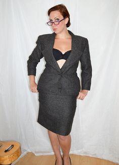 Designer Vintage Chloe Suit Skirt and Jacket by MoonWalkVintage, £97.00