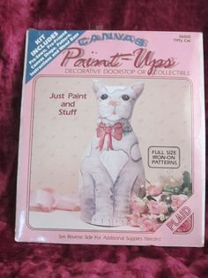 Listed in my #etsy shop: Tiffy Cat Canvas Paint Up DIY Doorstop or Collectible 1989 Plaid Enterprises http://etsy.me/2j0Cmak #supplies #catkit #plaidenterprises #teamwwes #doorstop #collectible #paintups #kitten #craftsupply