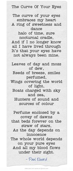 The Curve Of Your Eyes by Paul Eluard