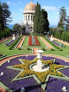 Baha'i gardens, located in Haifa.  The Baha'i faith has their world center in Israel.