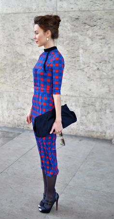 Street style: Printed geometric dress, Ulyana.  I like her hair and shoes and the cut of this dress.