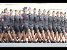 Russian Females on Victory Parade - I can tell you one thing, our women in the military do not look this good - Also take note, not one single non white in the formation. Victory Parade, Female Soldier, Girls Uniforms, Police Uniforms, Police Officer, Military Women, Military Personnel, Single Men, Armed Forces