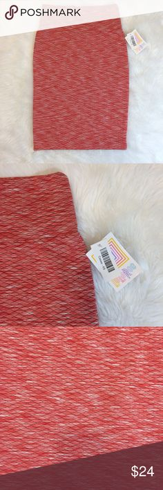 LuLaRoe Cassie Pencil Skirt Size XS Red and White New with tags Red/Orange and white Heathered  95% Polyester / 5% Spandex  machine wash cold  23 inches length , 26 inches waist  has some stretch to it LuLaRoe Skirts Pencil