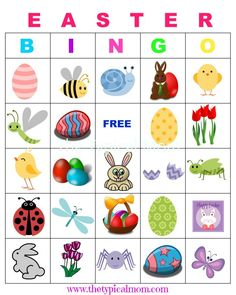 Easter Bingo is so much fun and a great party game to play with friends and relatives. Here are free printable Easter bingo cards to play at school if you're a teacher or a parent having a holiday party or just looking for a rainy day activity. Easter Bingo, Easter Games, Easter Activities, Easter Party, Easter Projects, Easter Crafts For Kids, Holiday Crafts, Holiday Fun, Diy Ostern