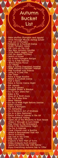 53 Items for your autumn bucket list