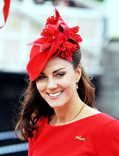 Catherine, Duchess of Cambridge accented her #AlexanderMcQueen dress with a matching floral fascinator in cheery Union Jack red. #katemiddleton http://news.instyle.com/photo-gallery/?postgallery=115194#17