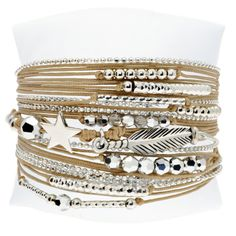 BRACELET STAR WITH FEATHER BEIGE - BRACELETS/Nos Cordons - DORIANE Bijoux