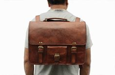 15 Inch Macbook Leather Messenger cum Backpack Laptop Messenger Satchel Shoulder Handbag Handmade Leather Briefcase - Vintage Look by LeftoverStudio on Etsy Leather Laptop Backpack, Satchel Backpack, Leather Camera Bag, Briefcase For Men, Leather Briefcase, Leather Satchel, Leather Roll, Buy Bags, Men's Bags
