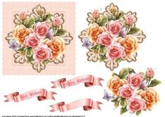 Decorative Floral Topper 13 on Craftsuprint designed by June Harrop - Gorgeous floral topper that makesa card suitable for many occasions. - Now available for download!