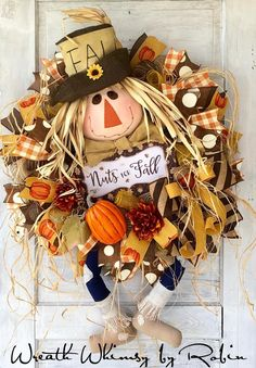 WreathWhimsybyRobin on Etsy Thanksgiving Wreaths, Autumn Wreaths, Holiday Wreaths, Wreath Fall, Scarecrow Wreath, Scarecrow Party, Scarecrow Character, Autumn Display, Fall Displays