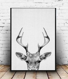 Deer Print, Deer Antlers, Woodlands Decor, Wilderness Wall Art, Nursery Black and White, Animal Print, Printable Art, Deer Head Download