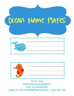 Classroom Freebies Too: Ocean Name Plates-could be used for word cards