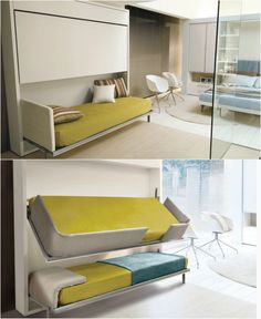 19 Cool Beds and bedroom ideas for small space - Top New Today Kid Beds, Bunk Beds, Modern Murphy Beds, Bunk Bed Designs, Eating Before Bed, Bed Wall, Cool Beds, Handmade Furniture, Space Saving