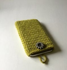 Crocheted I phone 6 plus cosy green I phone 6 by KnitandLoomstudio
