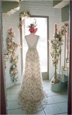 Claire Pettibone 'Oleander' wedding dress photographed by Elizabeth Messina via Brides Magazine at the Claire Pettibone Flagship Salon aka #TheCastle