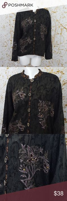 "Flashback vintage shabby chic jacket size small This is a Flashback vintage shabby chic jacket oversized size small. Asian collar. Fully lined and shoulderpads. It has flower designs, velvet appliques and contrasting trim on hem, Sleeves hem and collar.   Materials  50% cotton  45% rayon 5% wool   Approximate measurements laying flat  Sleeves 23 1/2"" Shoulders 17 1/2"" Lenght 26"" Chest from armpit to armpit 22 1/2""  Excellent vintage pre owned condition no rips, stains or holes. Flashback…"
