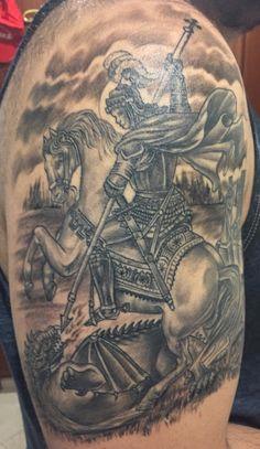 Saint George Tattoo #Saint #George #Tattoo #Half #Sleeve